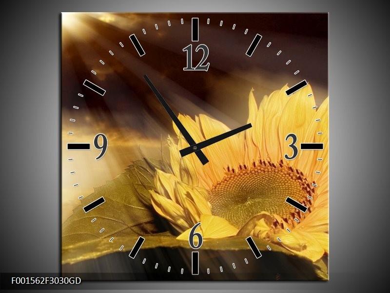 Wandklok op Glas Bloem   Kleur: Geel, Grijs, Wit   F001562CGD