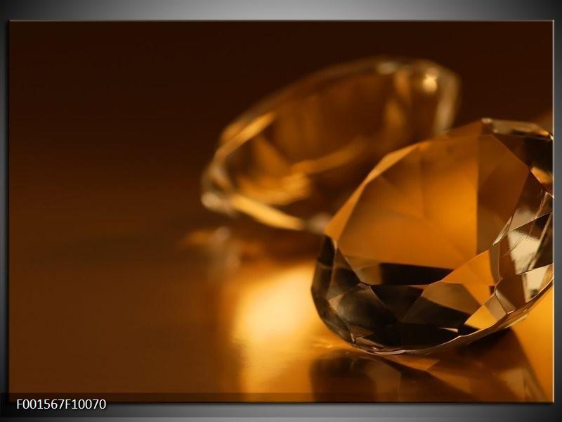 Glas schilderij Stenen | Bruin, Geel