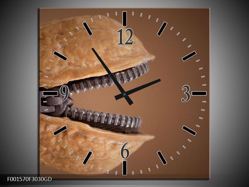 Wandklok op Glas Noot   Kleur: Bruin, Creme   F001570CGD
