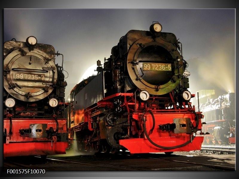 Glas schilderij Trein | Rood, Zwart, Grijs