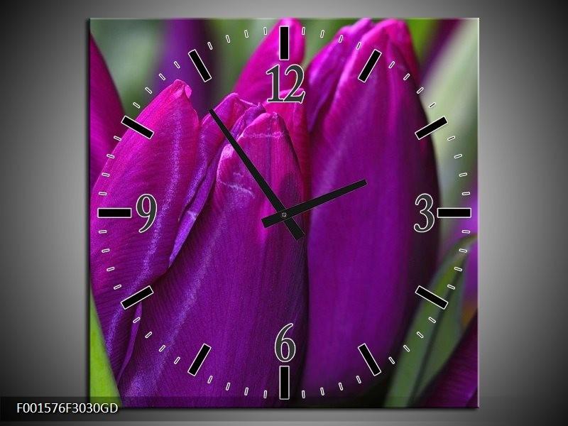 Wandklok op Glas Tulp   Kleur: Paars, Groen   F001576CGD