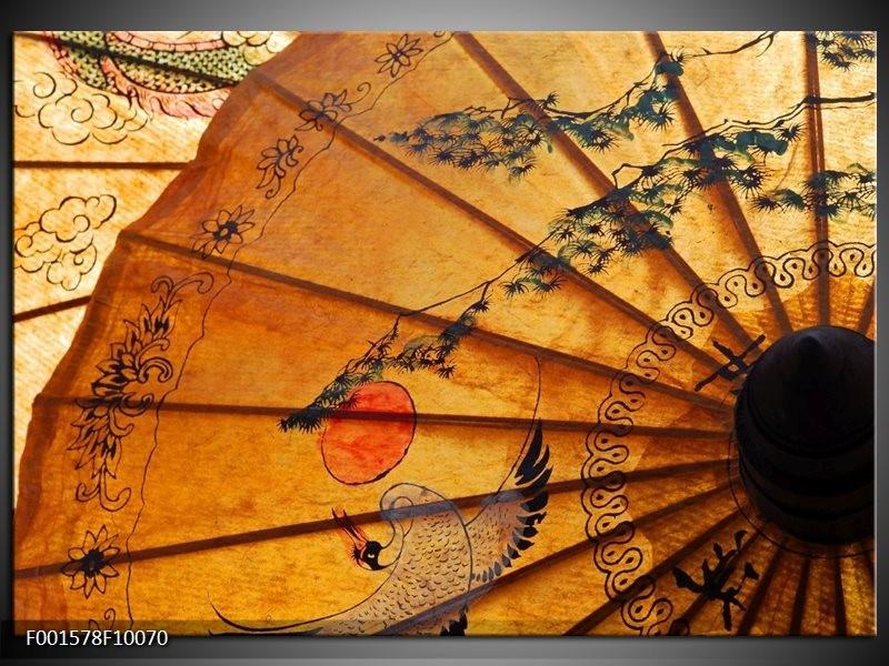 Foto canvas schilderij Waaier | Bruin, Zwart, Oranje