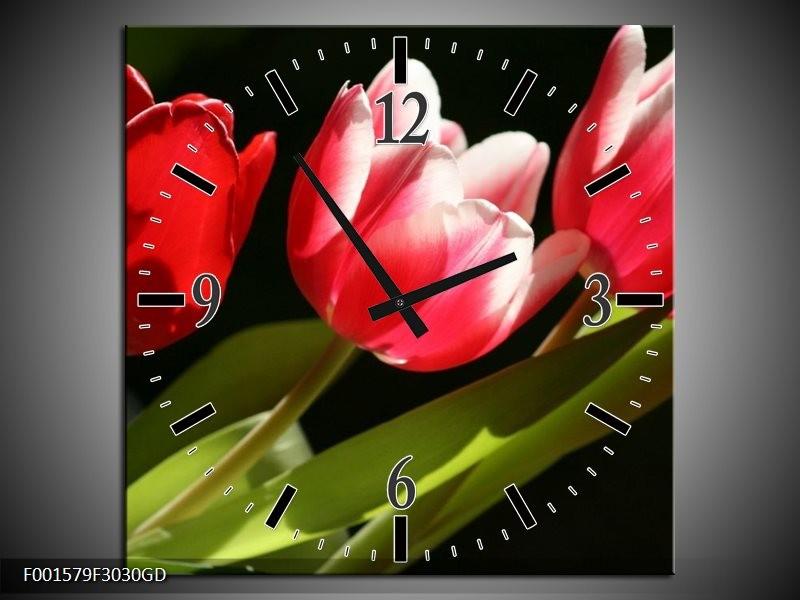 Wandklok op Glas Tulpen | Kleur: Rood, Wit, Groen | F001579CGD