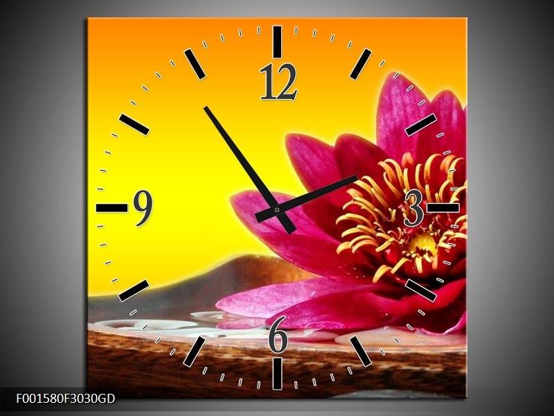 Wandklok op Glas Bloem | Kleur: Paars, Geel, Oranje | F001580CGD