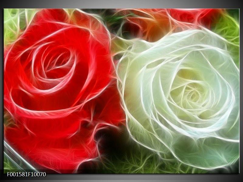 Glas schilderij Roos | Wit, Rood,