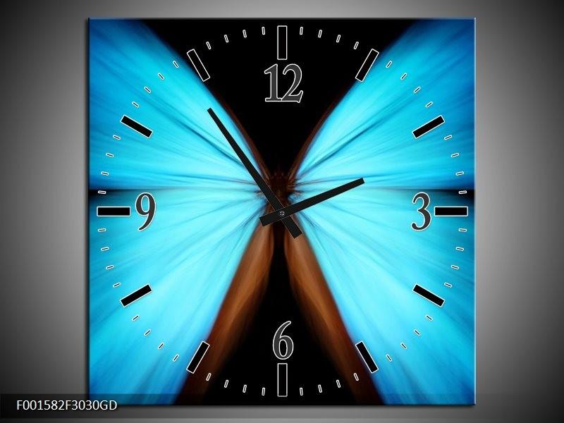 Wandklok op Glas Vlinder | Kleur: Blauw, Zwart | F001582CGD