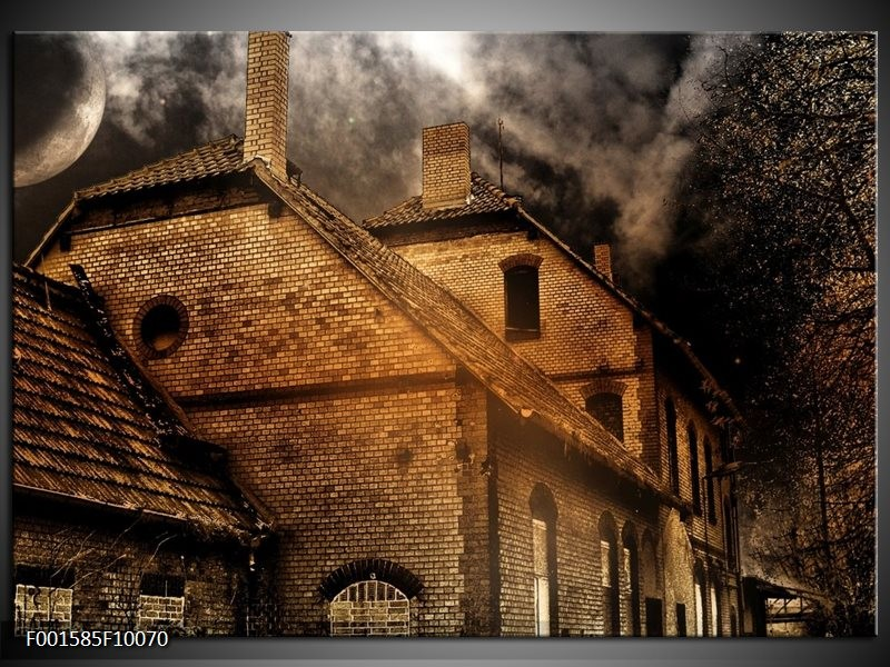 Foto canvas schilderij Huis | Bruin, Zwart, Grijs