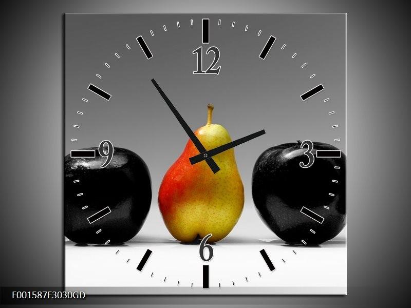 Wandklok op Glas Fruit | Kleur: Zwart, Grijs, Rood | F001587CGD