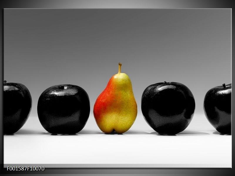 Glas schilderij Fruit | Zwart, Grijs, Rood