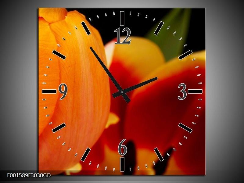 Wandklok op Glas Bloem | Kleur: Oranje, Rood, Zwart | F001589CGD