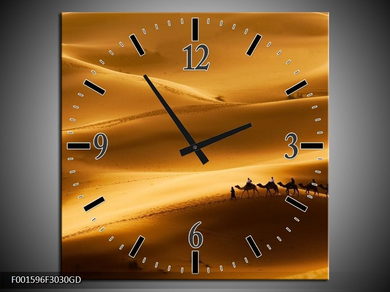 Wandklok op Glas Natuur | Kleur: Goud, Geel, Wit | F001596CGD