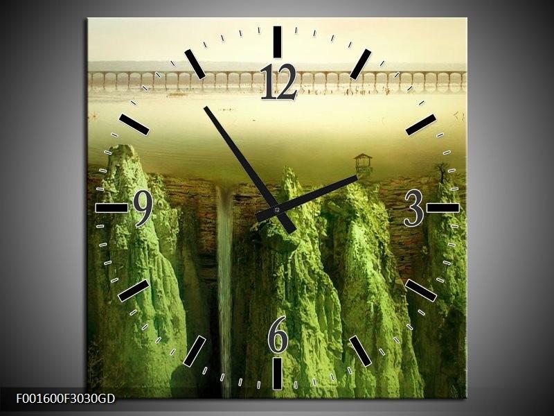 Wandklok op Glas Natuur | Kleur: Groen, Grijs | F001600CGD