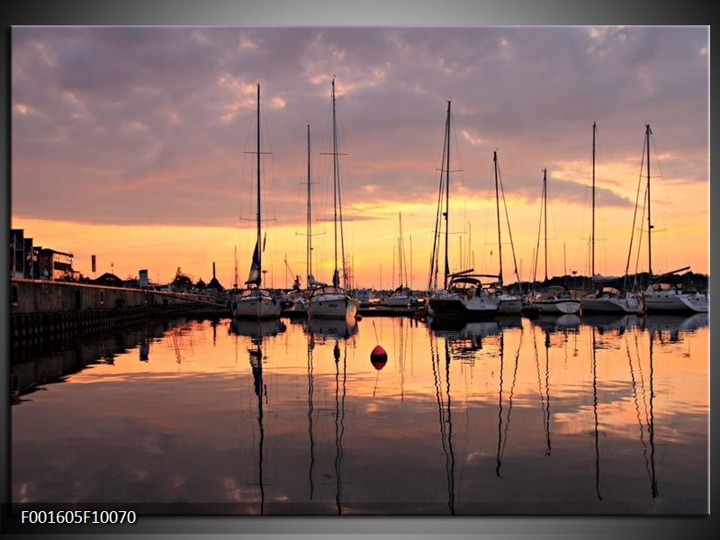Foto canvas schilderij Boot | Geel, Zwart, Grijs