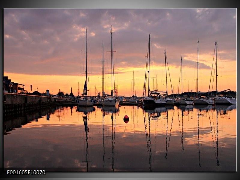 Glas schilderij Boot   Geel, Zwart, Grijs