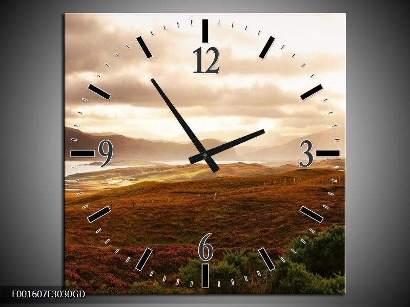 Wandklok op Glas Natuur   Kleur: Geel, Wit, Bruin   F001607CGD