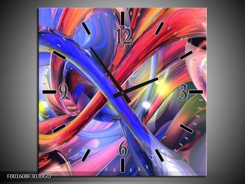 Wandklok op Glas Abstract | Kleur: Paars, Rood, Geel | F001608CGD