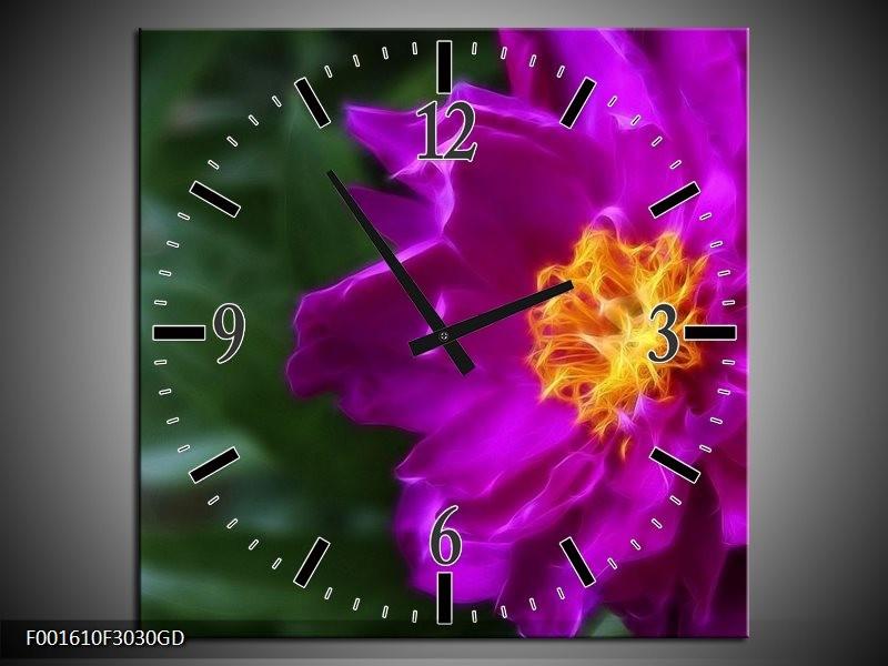 Wandklok op Glas Bloem   Kleur: Paars, Groen   F001610CGD