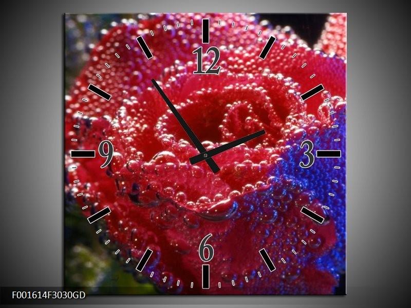 Wandklok op Glas Roos | Kleur: Rood, Blauw, Wit | F001614CGD