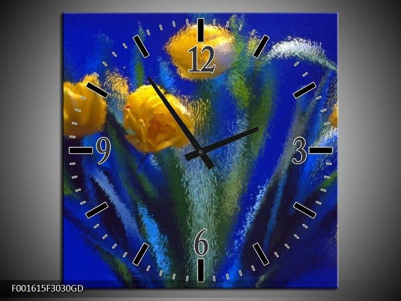 Wandklok op Glas Tulpen | Kleur: Blauw, Geel, Groen | F001615CGD