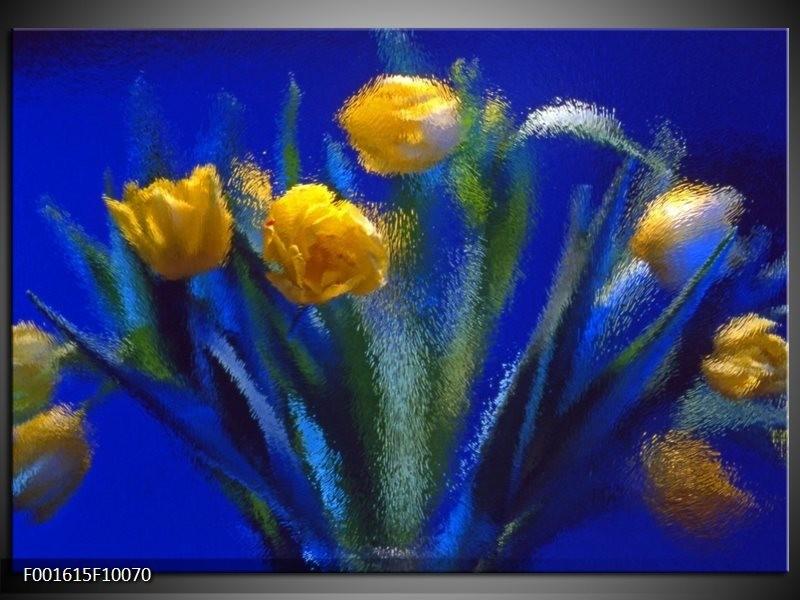 Glas schilderij Tulpen | Blauw, Geel, Groen