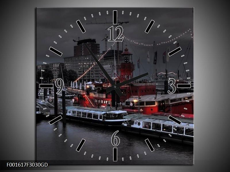Wandklok op Glas Boot | Kleur: Grijs, Zwart, Wit | F001617CGD