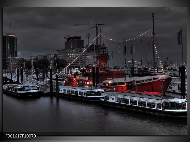 Glas schilderij Boot   Grijs, Zwart, Wit