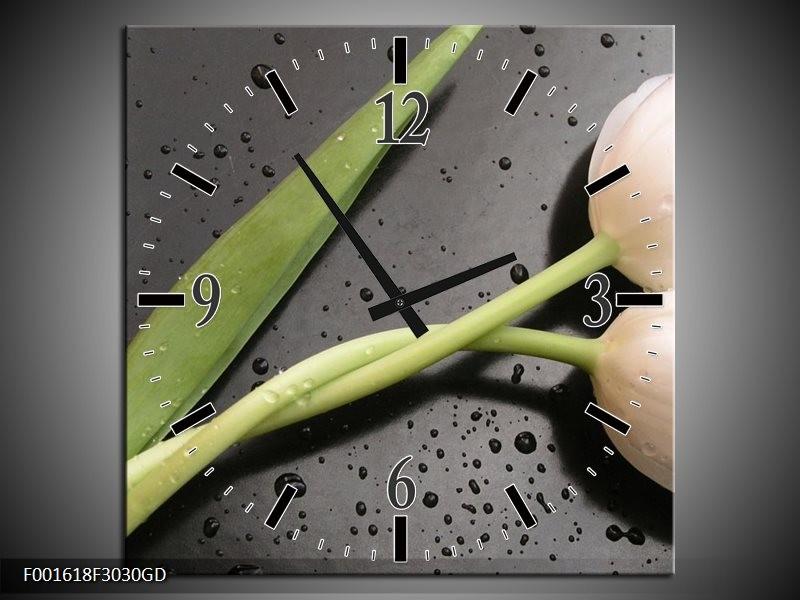 Wandklok op Glas Tulpen   Kleur: Wit, Groen, Grijs   F001618CGD