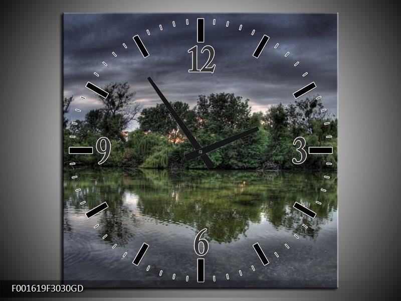 Wandklok op Glas Natuur | Kleur: Groen, Grijs, Wit | F001619CGD