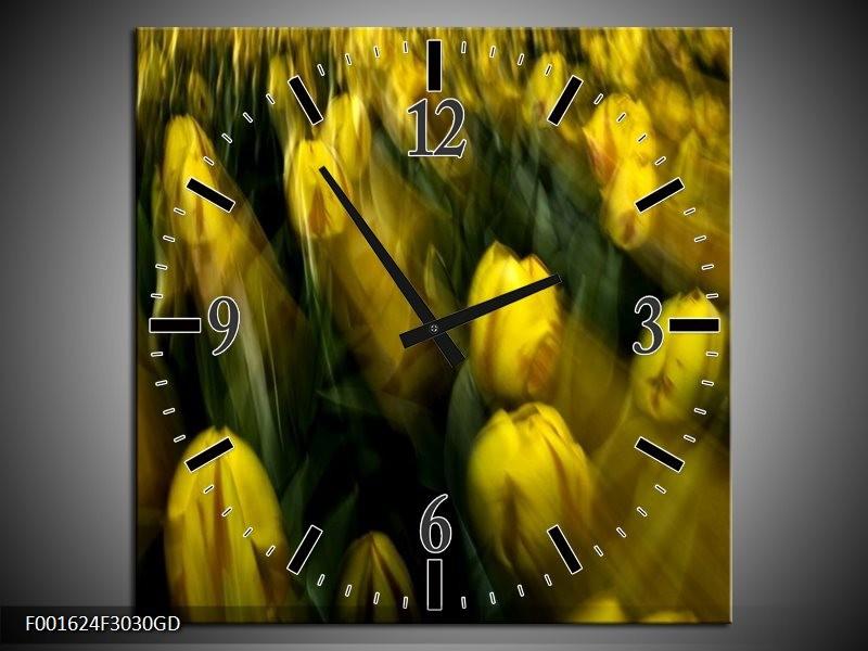 Wandklok op Glas Tulpen | Kleur: Geel, Groen | F001624CGD