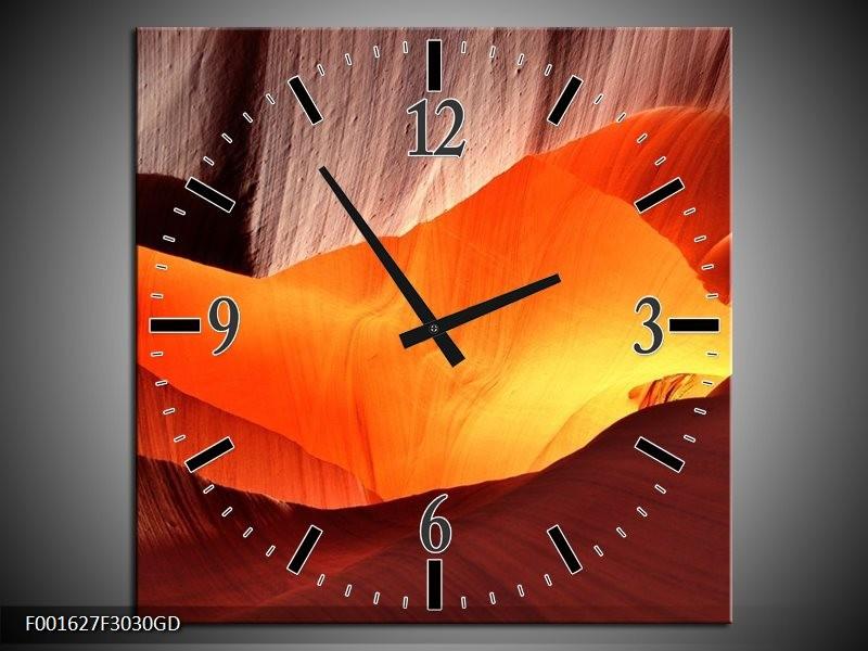 Wandklok op Glas Zand | Kleur: Oranje, Bruin, Geel | F001627CGD