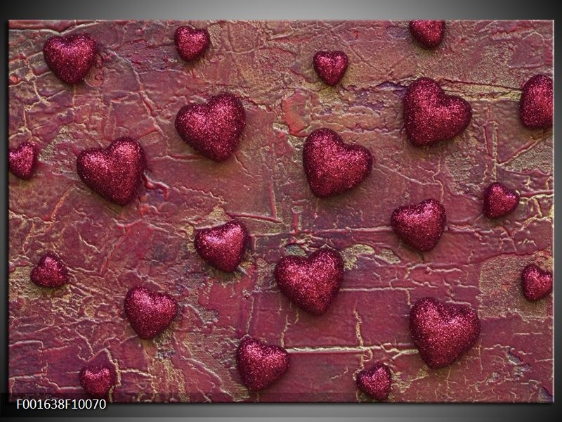 Foto canvas schilderij Hartjes | Paars