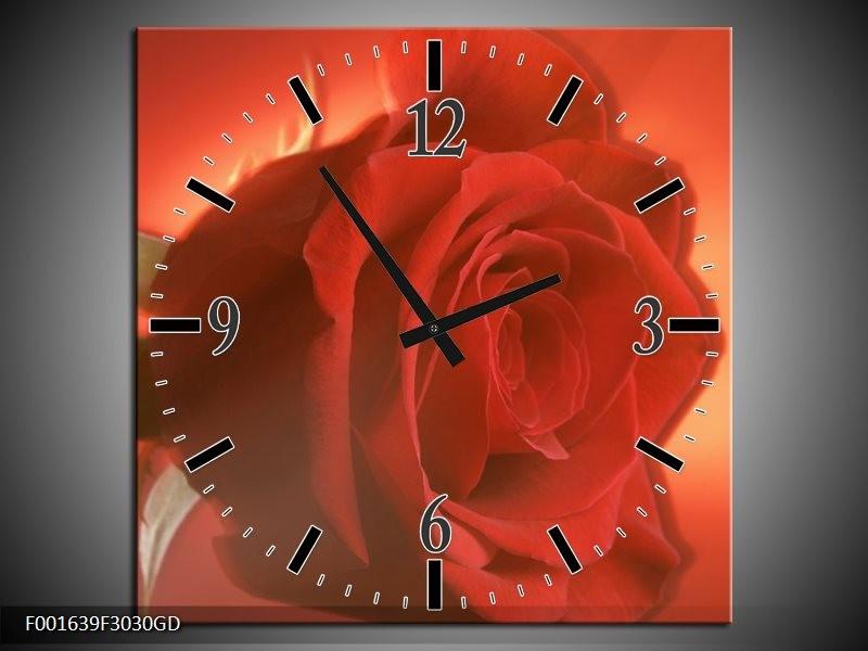 Wandklok op Glas Roos   Kleur: Rood, Oranje, Geel   F001639CGD