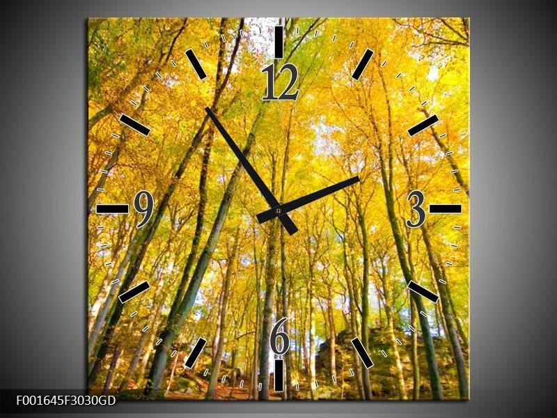 Wandklok op Glas Bomen | Kleur: Geel, Groen | F001645CGD