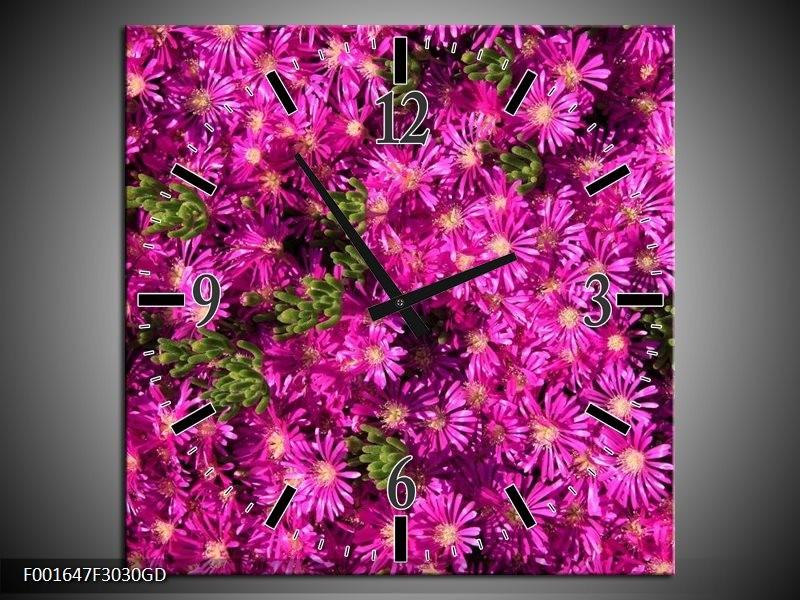 Wandklok op Glas Bloemen | Kleur: Paars, Groen | F001647CGD