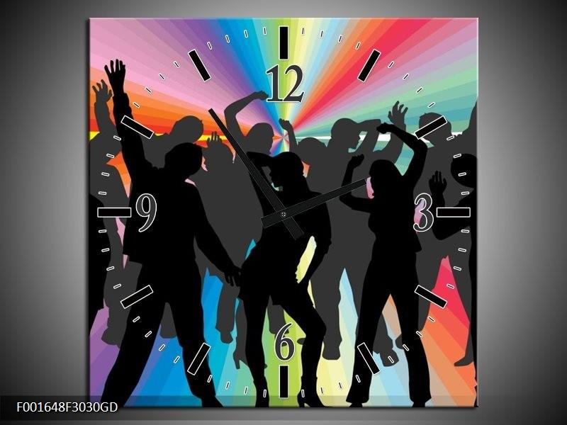 Wandklok op Glas Dansen   Kleur: Zwart, Rood, Groen   F001648CGD