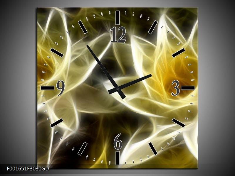 Wandklok op Glas Bloem | Kleur: Geel, Wit, Zwart | F001651CGD
