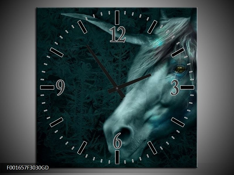Wandklok op Glas Paard | Kleur: Grijs, Wit | F001657CGD