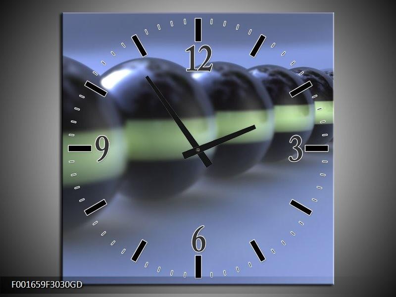 Wandklok op Glas Ballen | Kleur: Zilver, Grijs | F001659CGD
