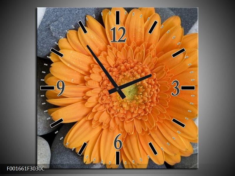 Wandklok op Canvas Bloem | Kleur: Oranje, Grijs | F001661C