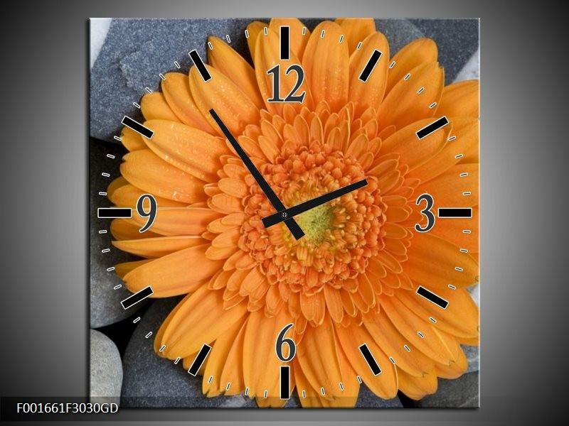 Wandklok op Glas Bloem | Kleur: Oranje, Grijs | F001661CGD