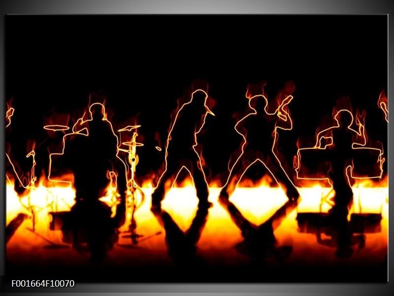 Foto canvas schilderij Muziek | Geel, Oranje, Zwart