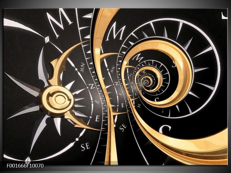 Foto canvas schilderij Abstract | Zwart, Goud, Wit