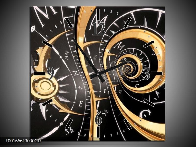 Wandklok op Glas Abstract | Kleur: Zwart, Goud, Wit | F001666CGD