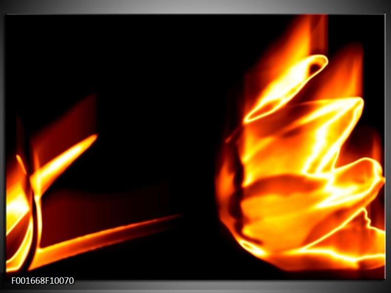 Foto canvas schilderij Abstract | Geel, Oranje, Zwart