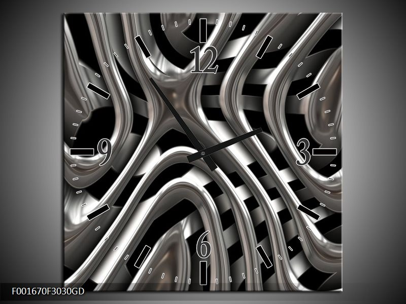 Wandklok op Glas Abstract | Kleur: Grijs, Zilver, Zwart | F001670CGD