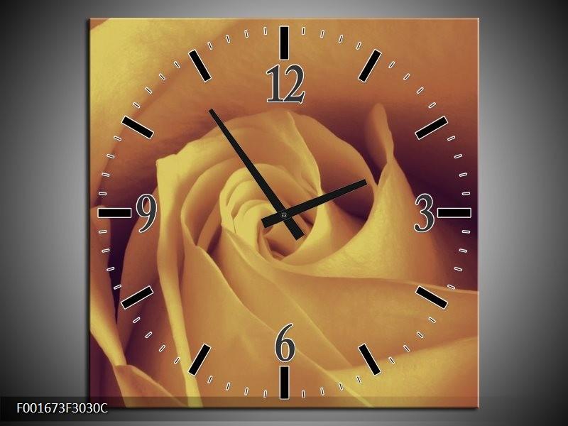 Wandklok op Canvas Roos   Kleur: Bruin, Creme   F001673C