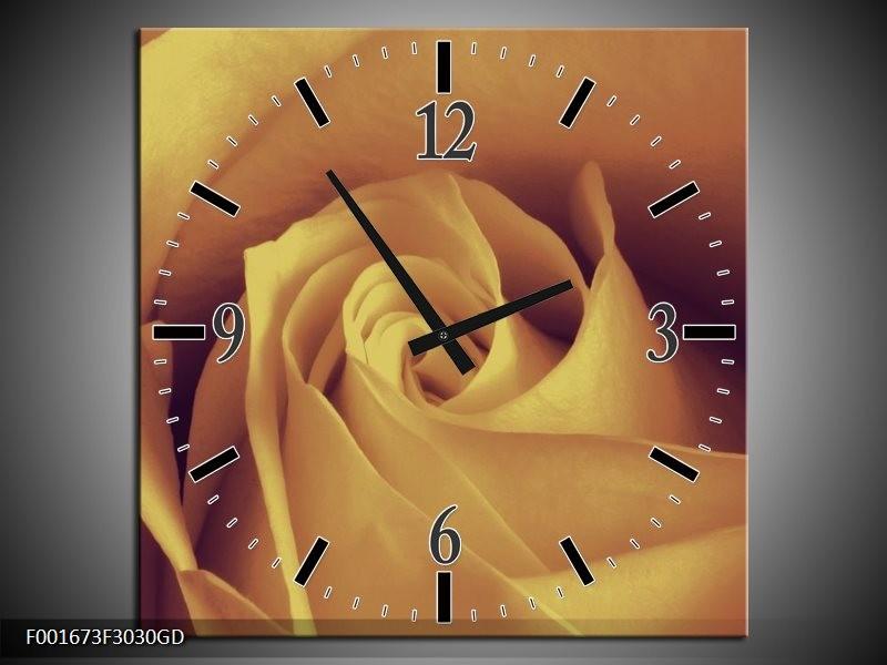 Wandklok op Glas Roos   Kleur: Bruin, Creme   F001673CGD