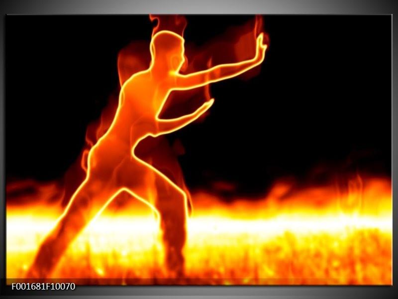 Foto canvas schilderij Sport   Geel, Oranje, Zwart