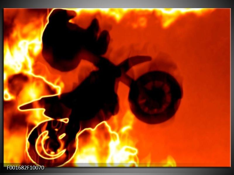 Glas schilderij Motor | Geel, Oranje, Zwart