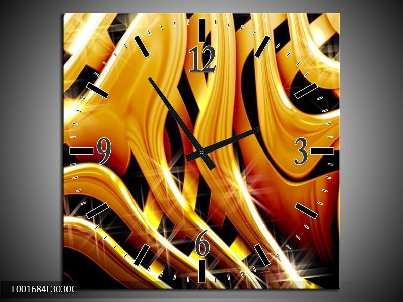 Wandklok op Canvas Abstract | Kleur: Goud, Geel, Zwart | F001684C